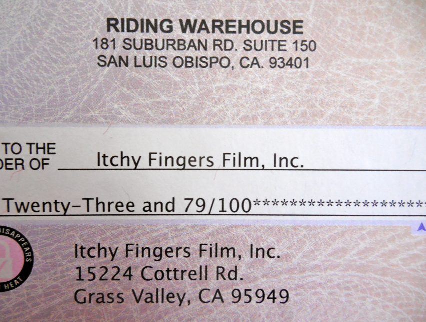 Here is the September check from Riding Warehouse!  Yay!