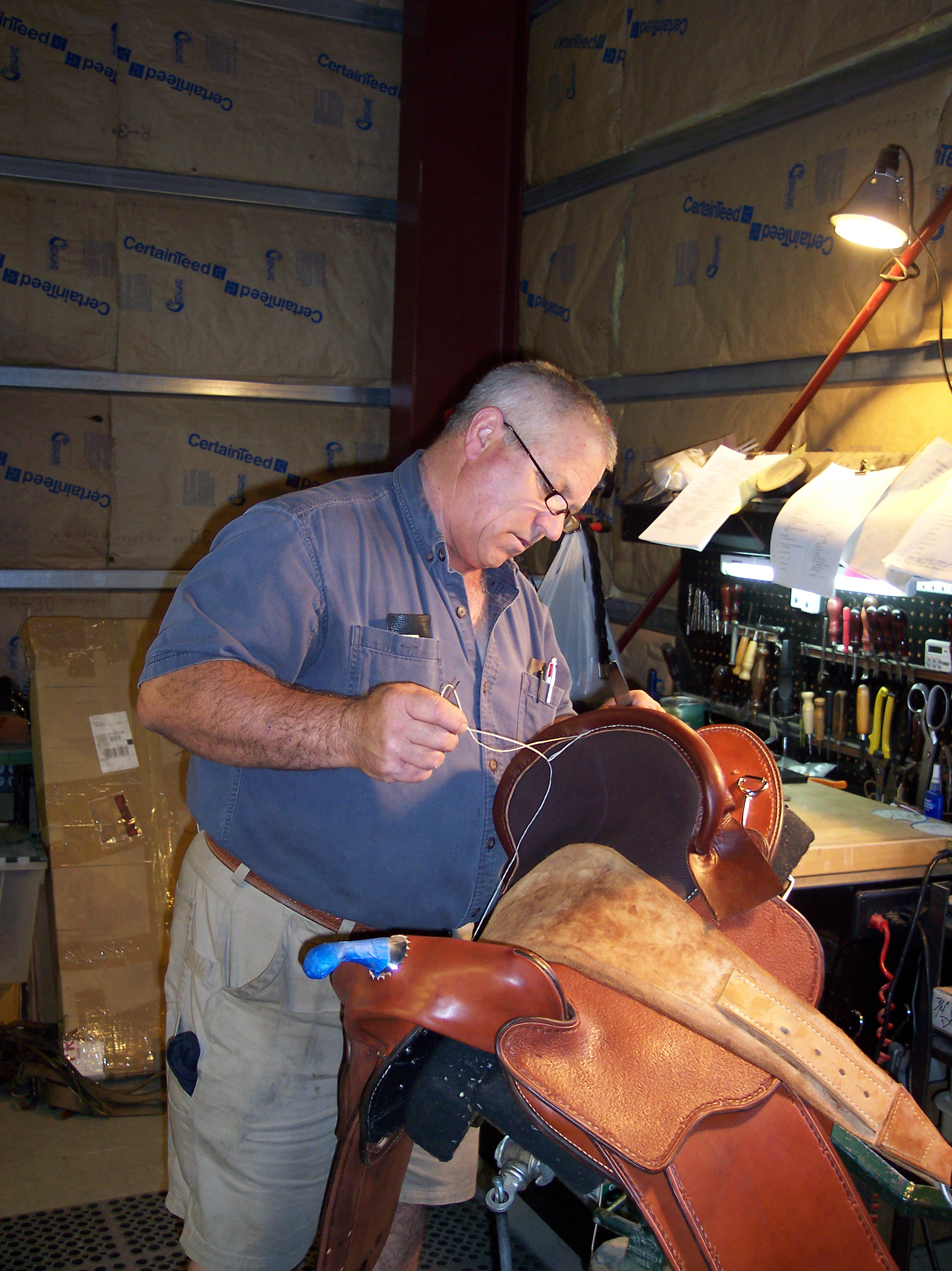 This is Boz making one of his saddles.