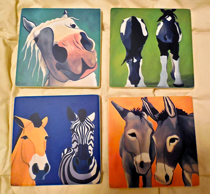 The coaster set images that I chose!  You can choose from 17 of Leslie's paintings!