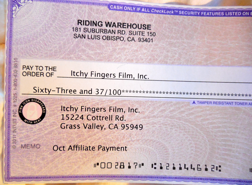 This is the largest check we have received so far from Riding Warehouse!  You Readers Rock!