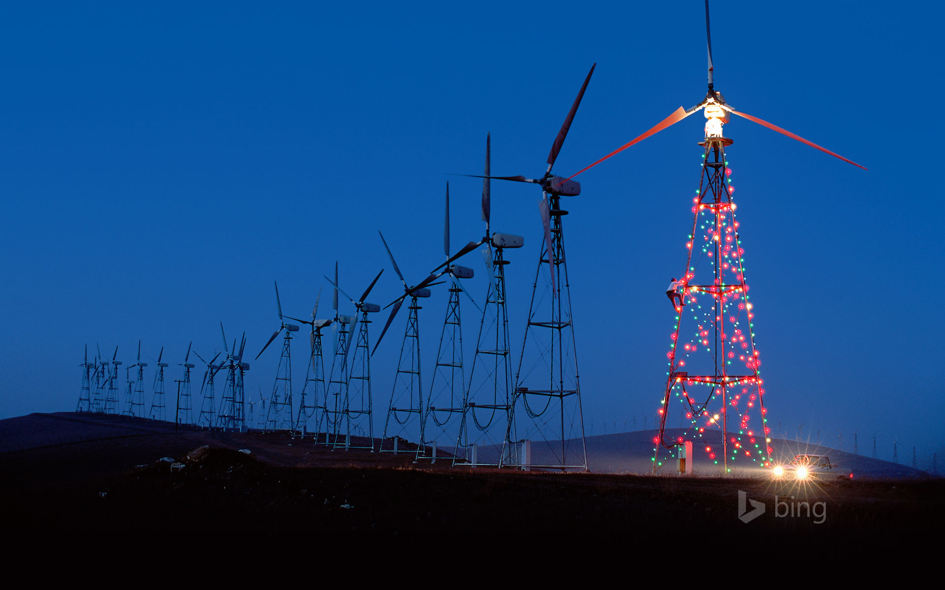 Lights display on a California wind farm
