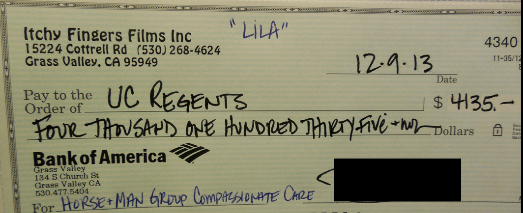 This is the check that was sent to UC Davis for Lila's care.