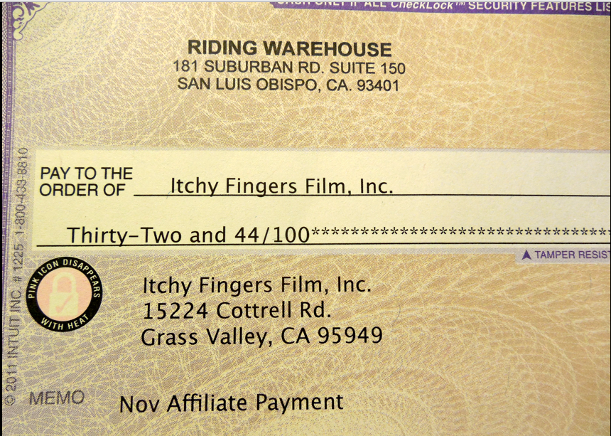Riding Warehouse November payment!
