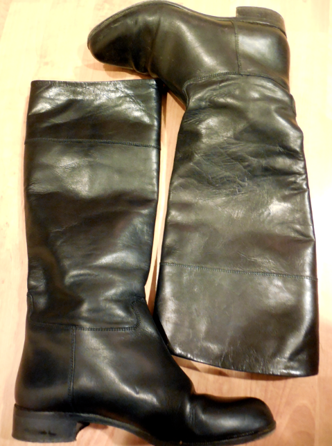 This is after the boot on the left was cleaned and conditioned.  The boot on the right has  not been touched.
