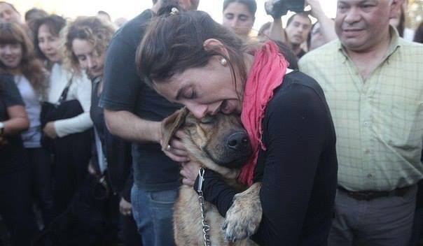 woman find dog after flood in LaPlata argentina