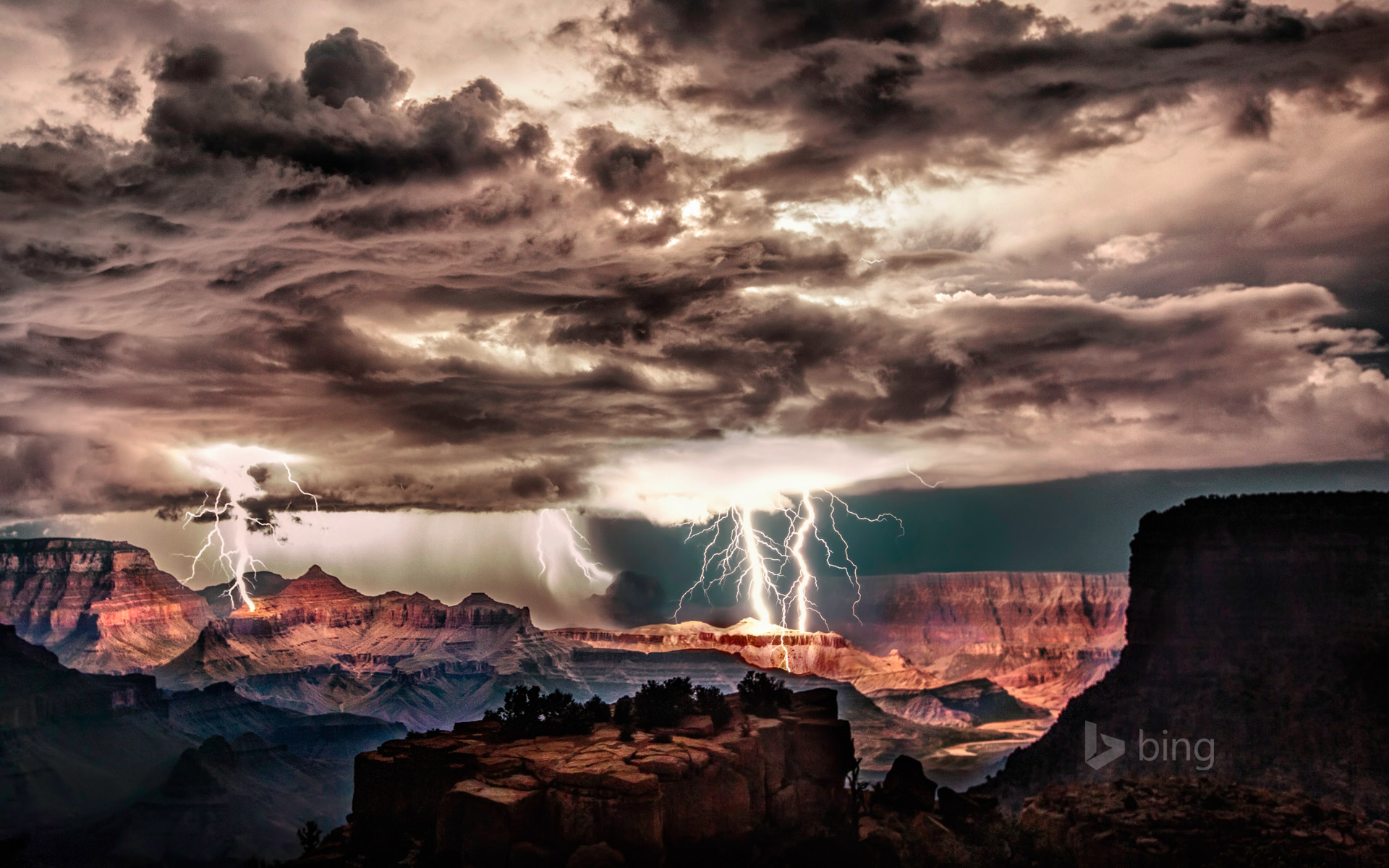 Lightning storm over Grand Canyon National Park, Arizona