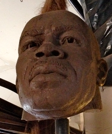 Todd  had this clay head from his original sculpture of Sam Mills.