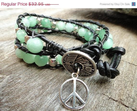 Aventurine Leather Wrap Bracelet - Mint Green - Zen -Chan Luu Inspired