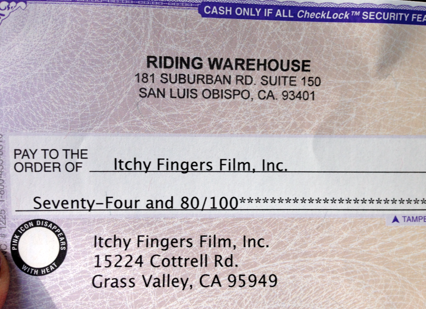 The February check we received from you readers entering The Riding Warehouse website via the link at the bottom of each post as well as the sidebar.  Wonderful, thank you!