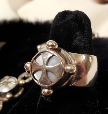 "Original Kit Carson Sterling and Mother of Pearl ring.  He made this.  6.5.  Band is 1/2"" thick sterling."