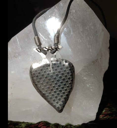 """Sterling heart, etched, signed.  3"""""""
