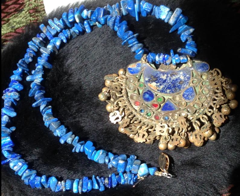 """Antique lapis necklace.  24"""""""
