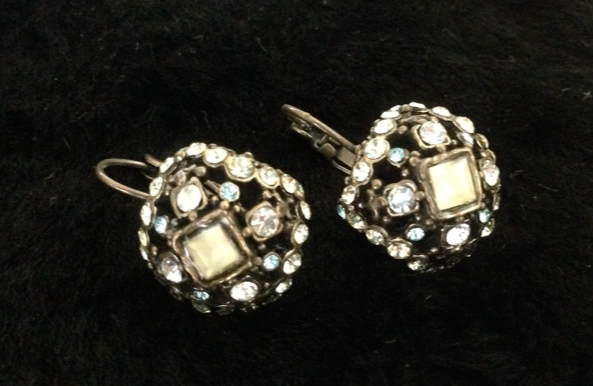 Square Western Earrings with bling!