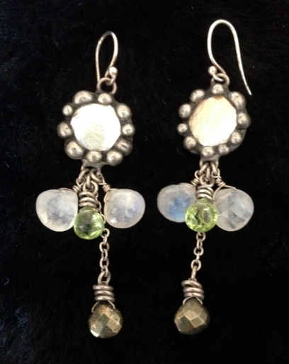 """Sterling, peach pearl, white and peridot crystal, bronze bead - my fav.  2"""""""