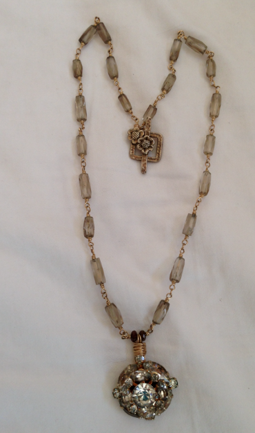 """Bronzy crystal, repurposed chunky crystal antique chain necklace . 18"""""""