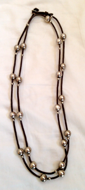 """42"""" of leather and sterling!  Great layering piece or stand alone."""