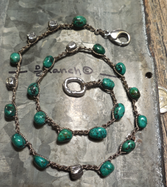 AFRICAN Turquoise and Antique, handmade Sterling beads... Reversible with handmade Sterling charm ring!  $68.  Click image!