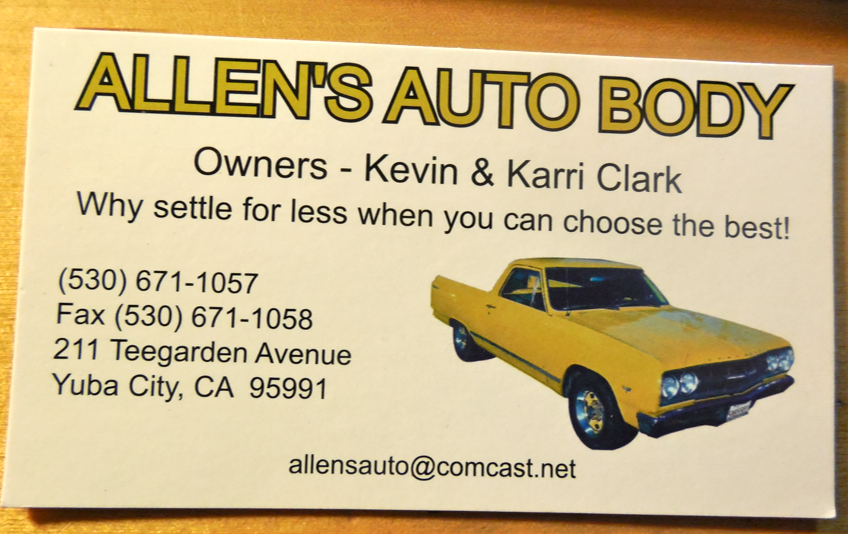 The is Mr. Auto Body Shop's card.  If you live anywhere near Yuba City, CA (California Chrome is from Yuba City...), please use this shop!  He is a good guy!