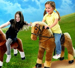 They have 3 sizes and kids can easily learn to work the horse.  It needs a smooth surface to work well.