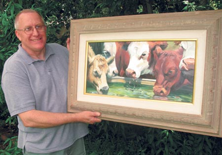 This is Glenn Lyles. He is famous for his larger cow oil paintings... but I am very pleased that he created little cow painting for those of us on a budget.