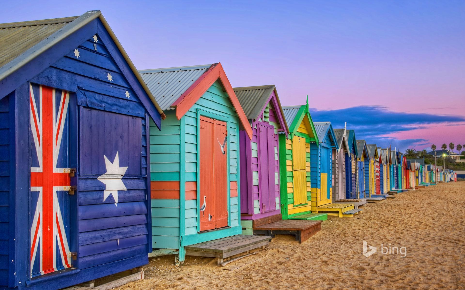 Bathing boxes line the beach at Brighton, Victoria, Australia
