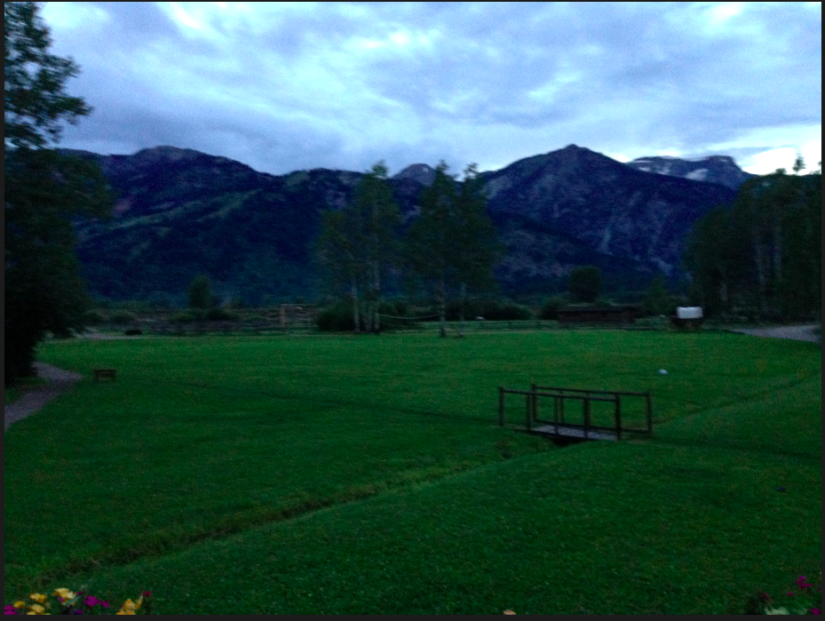 Twilight on a rainy day from the R Lazy S Ranch is Jackson, Wyoming!