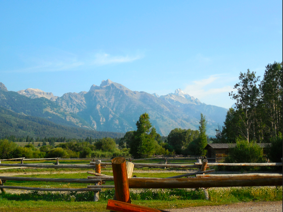 I took this photo of the Tetons when I was looking over the R Lazy S corral fence.