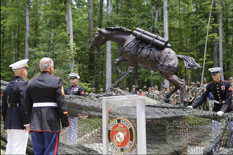 The first monument at her unveiling at the National Museum of the Marine Corps