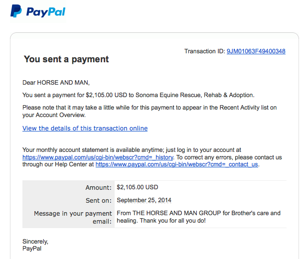 Our September receipt for Brother!