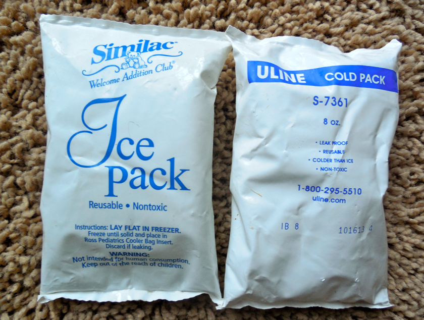I had these in my freezer.  You can see how common these are... one came in a lunchbox and the other came inside of a Fed Ex package that needed to stay cold.  These are the perfect size.  Even better to freeze them around something hoof shaped like a large, empty tomato can.