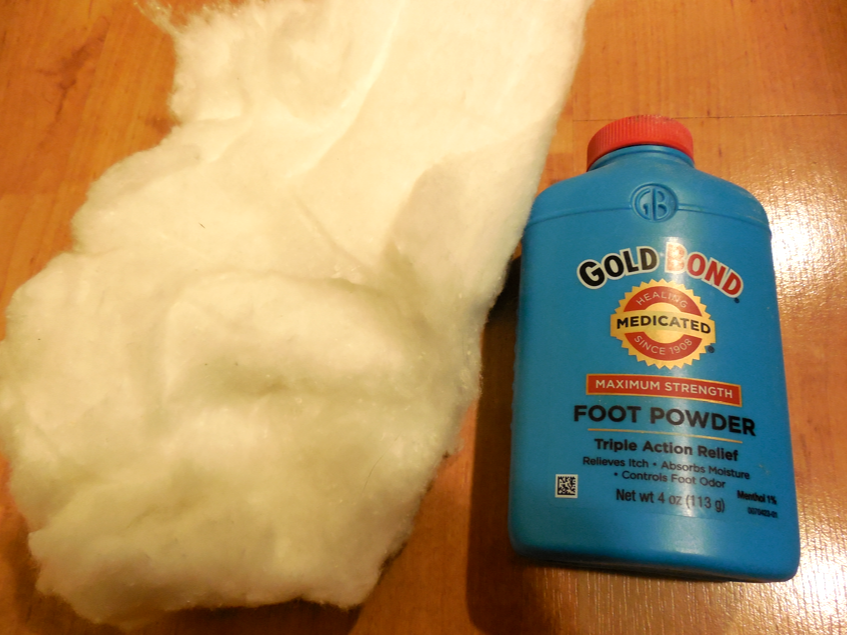 I added sheet cotton and Gold Bond Powder to reduce moisture.