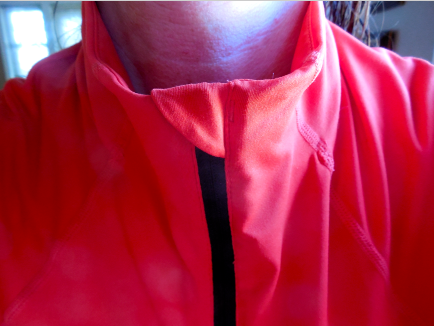 MY FAVORITE PART!!  See how the covered zipper doesn't dig into my neck?!  Love that!  And it wasn't expensive (now they are on sale at StateLine!)