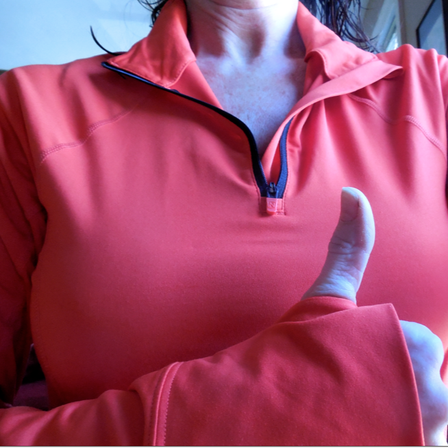 This is me in my Josie Quarter Zip Mock.  I love it!  I'm showing off the thumb hole.