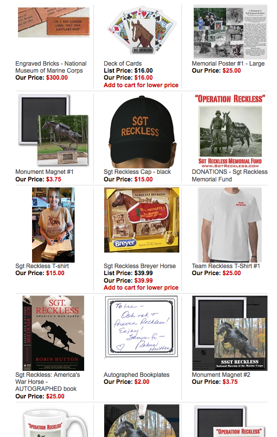 So many SGT RECKLESS memorabilia items... click to see them all!