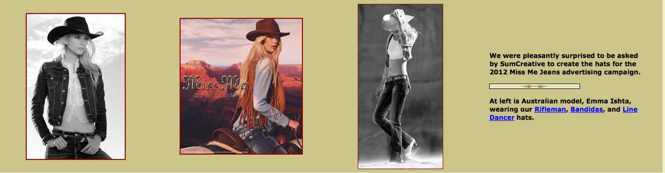This site had a huge variety of 'movie' character cowboy hats, which I loved!