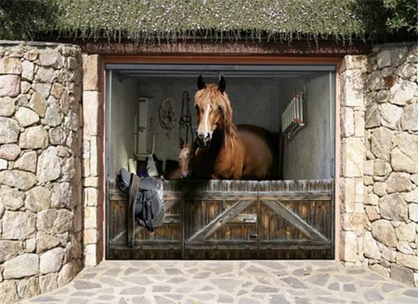 This is actually a garage door with a very lifelike image from TheGarag.