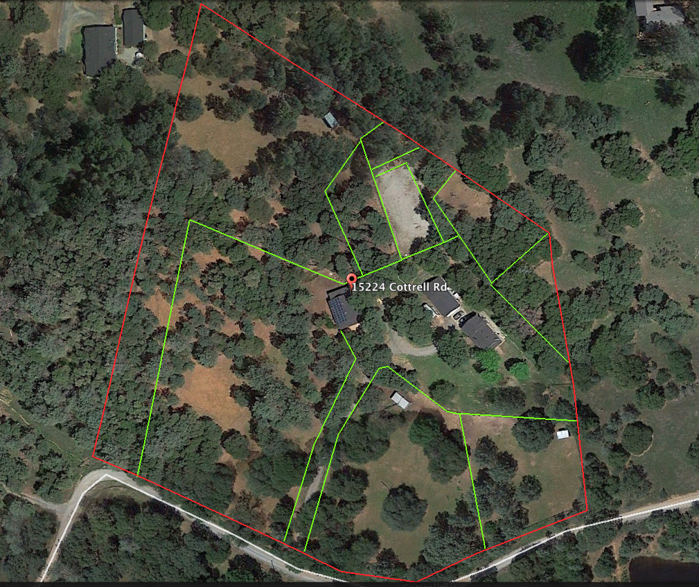 My Google Earth drawing of the property with cross fencing... way easier (and way better) than anything I could draw remedially with my two artistic clubs.