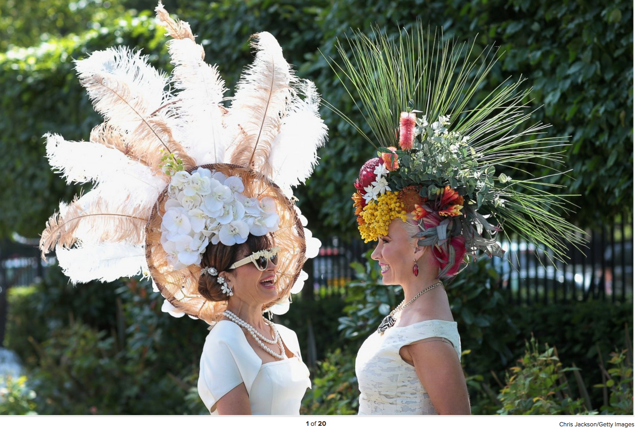 Women in hats chat as they arrive for Ladies Day on day 3 of Royal Ascot, June 18, 2015, in Ascot, England.