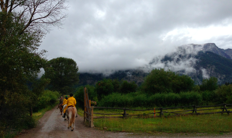 Here we are, heading out the gate into Grand Teton National Park.
