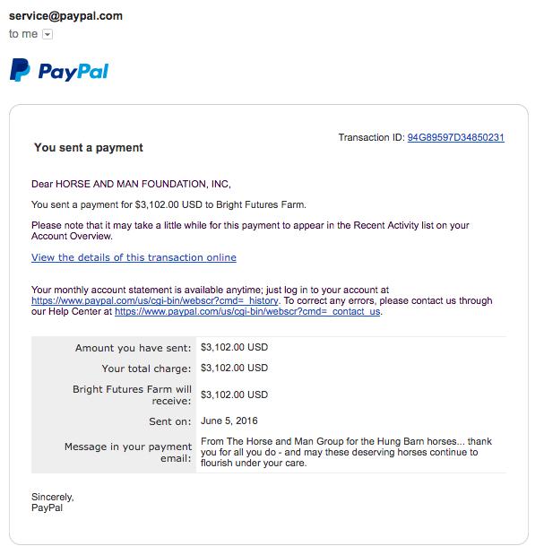 Our donation receipt.