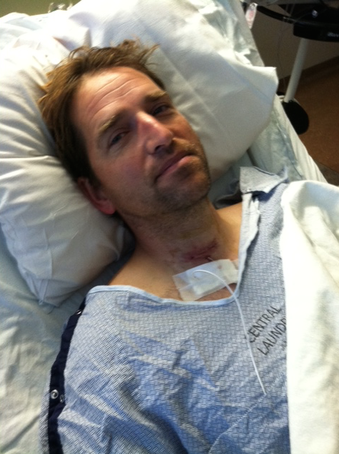 This is Hubby in the hospital in Utah after he had spine surgery to put a titanium piece in his neck. They went in through the front.