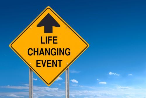 Conceptual road sign indicating an upcoming life changing event ahead - with clipping path