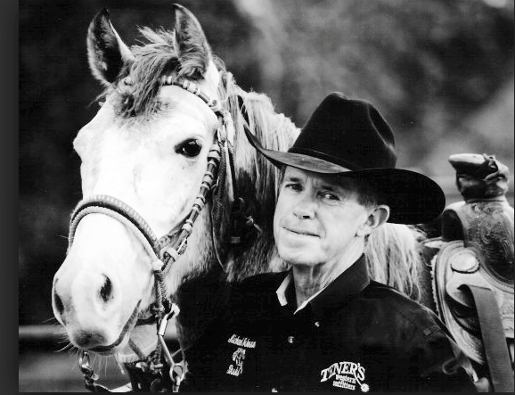 Michael Johnson, the author, and his horse, Blue.