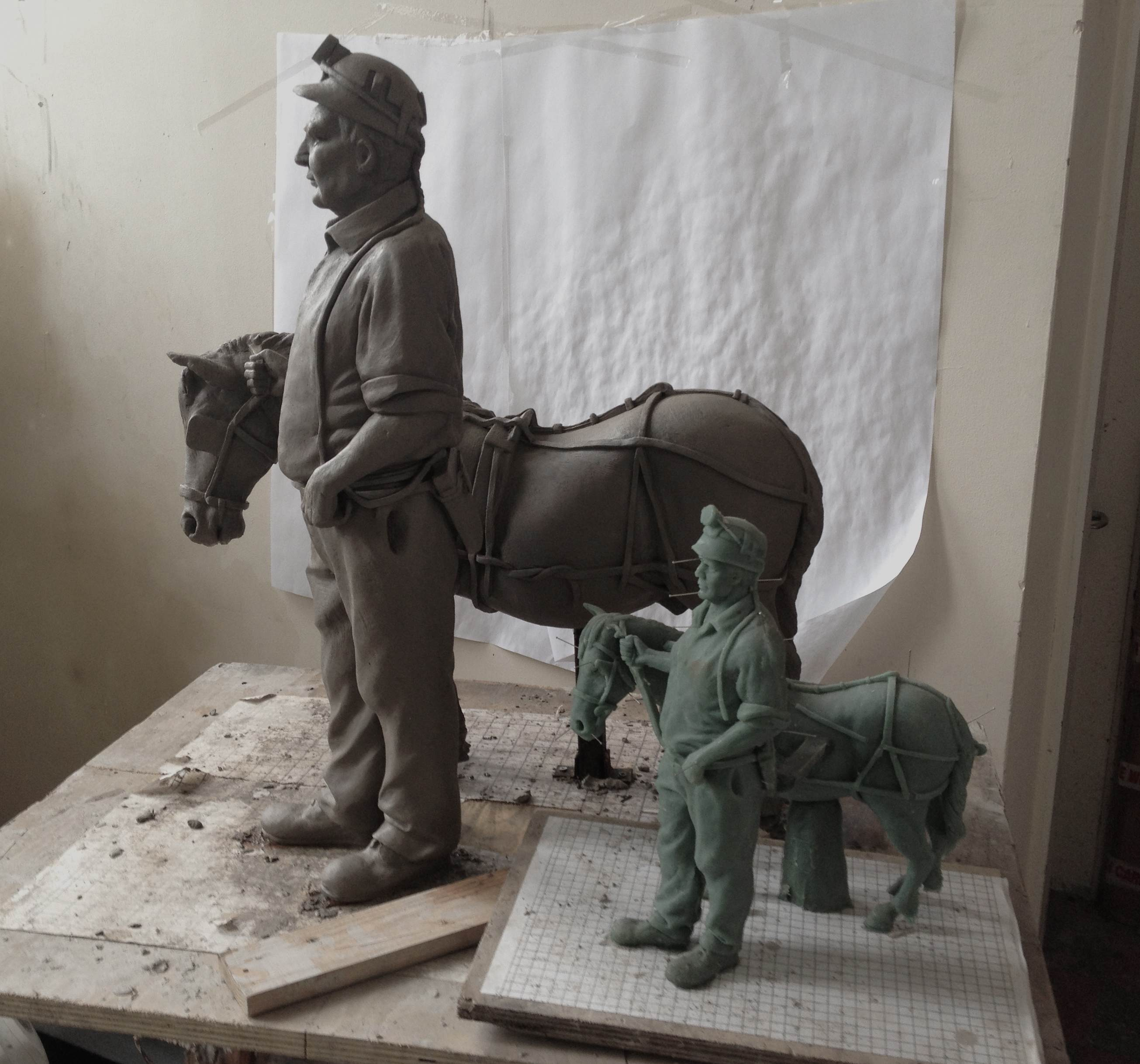 As he was working on the sculpture, the artist, Peter Walker, sent us some photos of his work in progress.