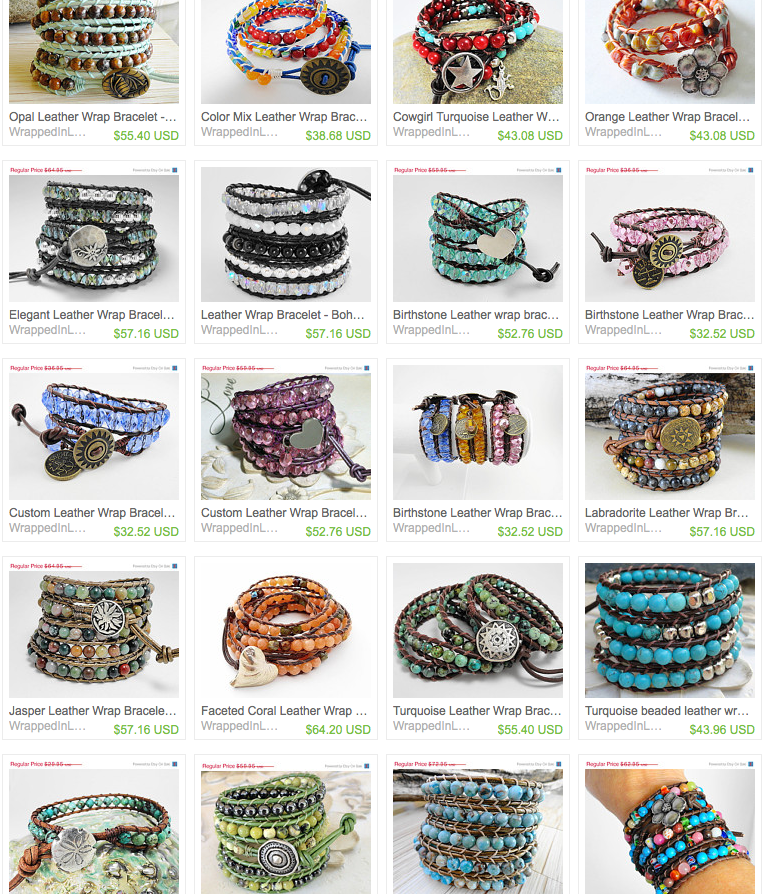 lots of wrapped bracelets!  Click to go to url
