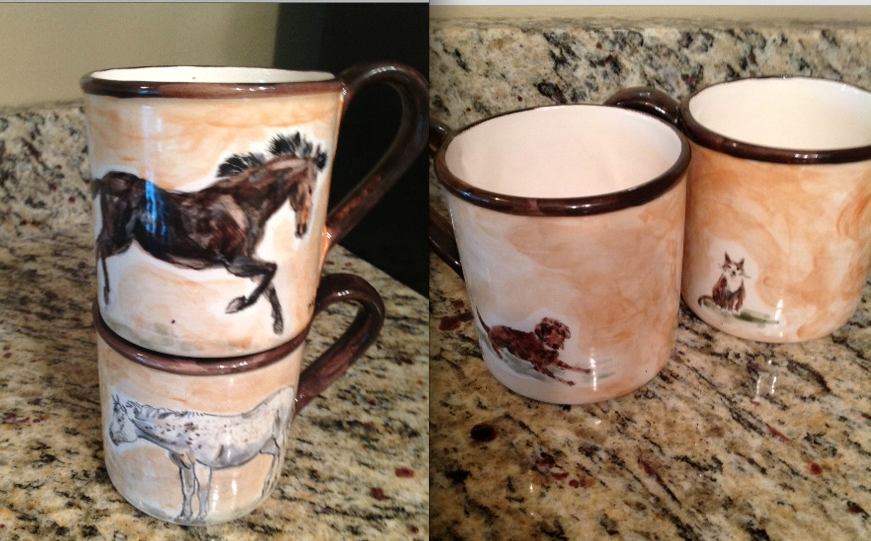 Here are the images of the mugs Kunic created for a reader - of her horses and her dog/cat.  Cute!