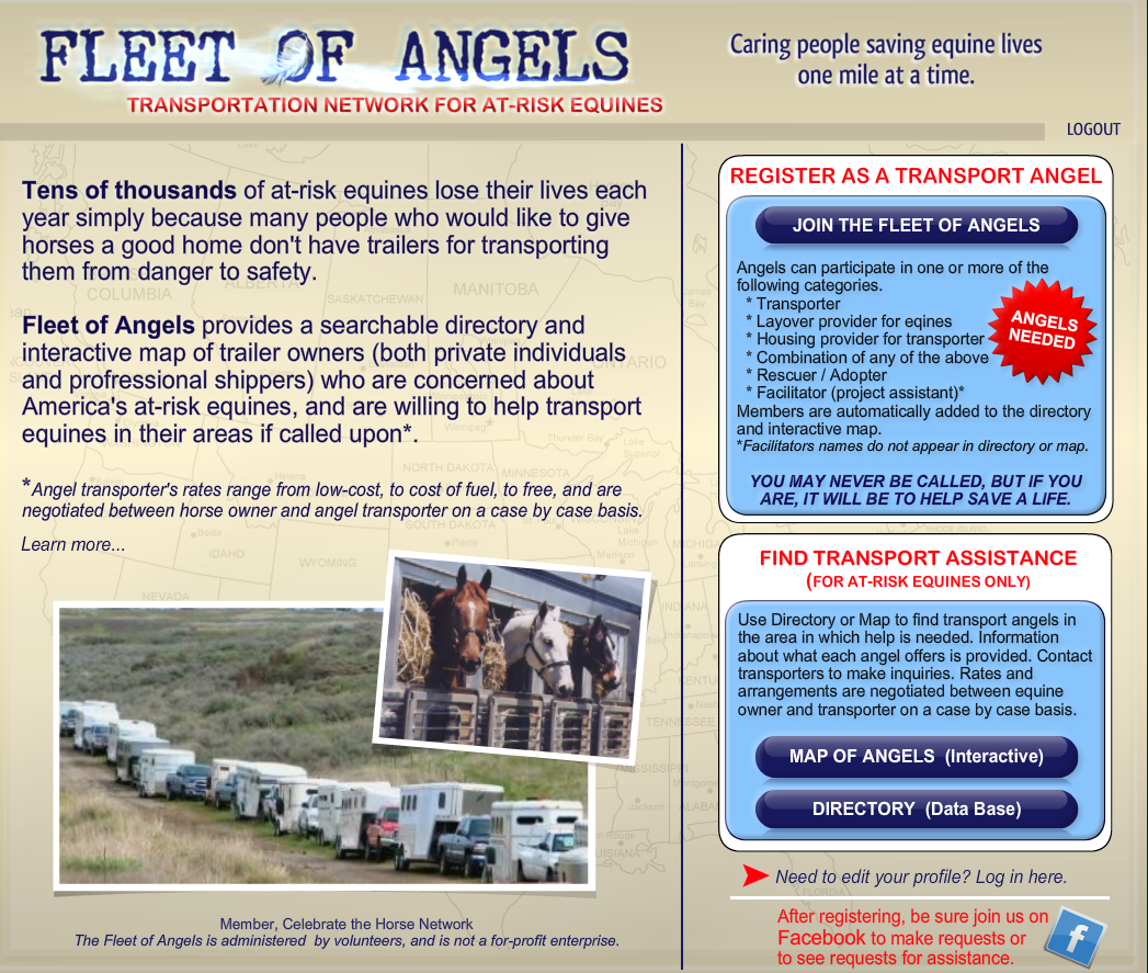 Fleet of Angels... sign up to be on call to help horses in need!