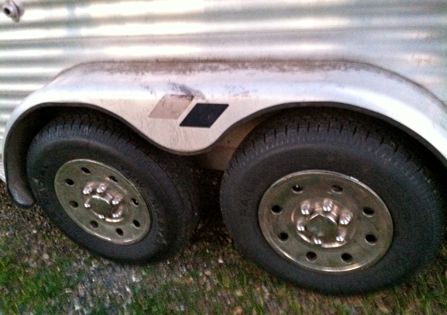 """Part of my """"Start of Spring"""" cleaning was to get new trailer tires. (Yes, I need to wash the foliage off of m y wheel wells - next weekend's chore!)"""