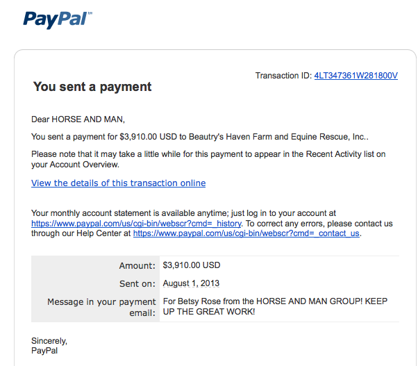 The receipt for our donation to BHFER and Betsy Rose!