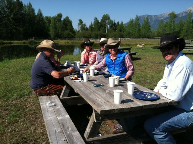New ranchfriends at one of the Breakfast Ride tables.  Great food!